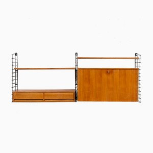 Vintage Walnut Veneer Wall Shelf, 1960s