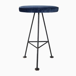 Mid-Century Iron & Velvet Bar Stools, Set of 2