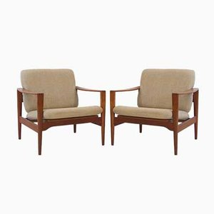 Vintage Model EK Teak Lounge Chairs by Illum Wikkelsø, 1960s, Set of 2