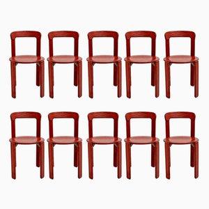 Rote Vintage Esszimmerstühle von Bruno Rey für Dietiker, 10er Set