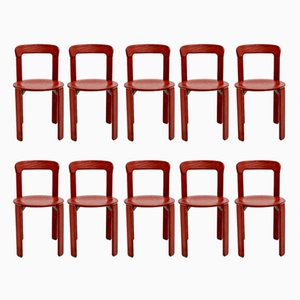 Vintage Red Dining Chairs by Bruno Rey for Dietiker, Set of 10