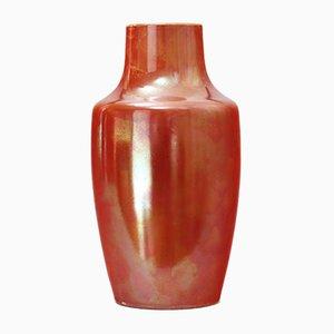 Orangefarbene glänzend glasierte Vase von Ruskin Pottery, 1922