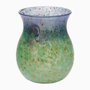Vase Bleu Vert Marin & Verre Bleu avec Aventurine Dorée par Salvador Ysart pour Monart, années 30