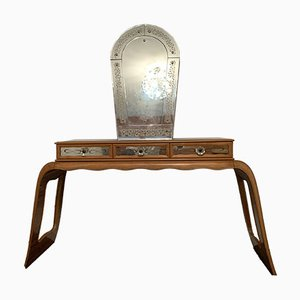 Art Deco Rosewood Console Table with Mirror, 1930s