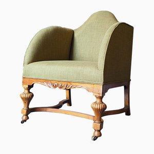 Antique Walnut & Green Fabric Armchair