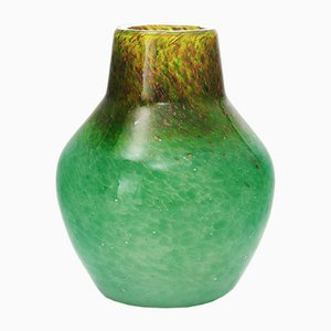 Art Deco Sea Green Vase with Gold Aventurine by Salvador Ysart for Monart, 1930s