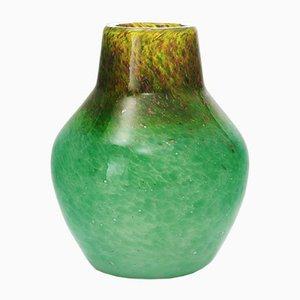 Jarrón Art Déco en verde mar con aventurina dorada de Salvador Ysart para Monart, años 30