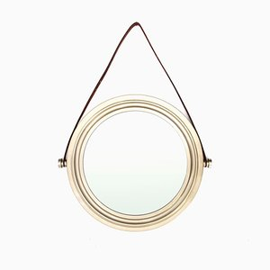 Espejo italiano de latón chapado en níquel, años 60