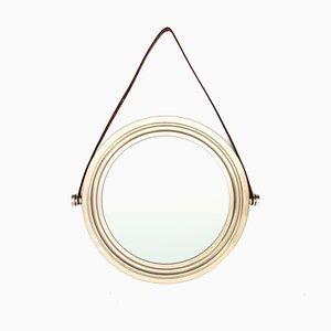 Miroir en Laiton Plaqué Nickel Brossé, Italie, années 60