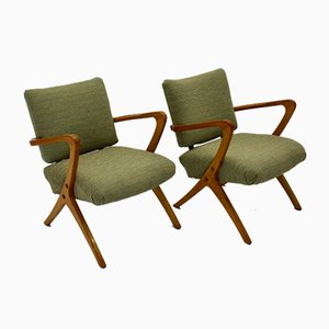 Model F3 Green Austrian Beech Armchairs, 1950s, Set of 2