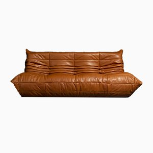 Model Tosca 1503 Togo Cognac Leather Sofa by Michel Ducaroy for Ligne Roset, 1973