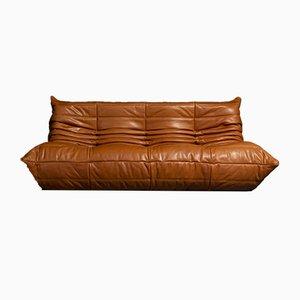 Model Tosca 1503 Togo Cognac Leather Sofa by Michel Ducaroy for Ligne Roset, 1973