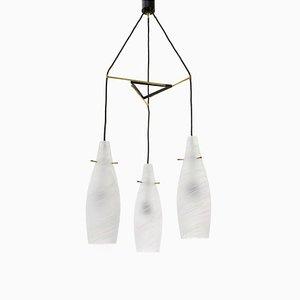 Lámpara colgante italiana Mid-Century de vidrio y latón, años 60