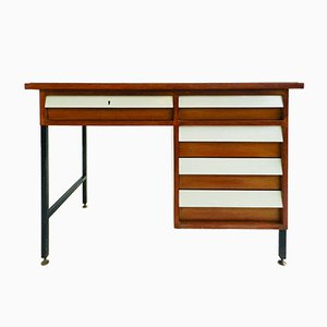 Small Walnut & Green Glass Desk by Ico Parisi & Ignazio Gardella, 1950s