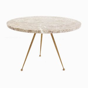 Brass & Marble Side Table by Gio Ponti, osvaldo borsani, 1950s