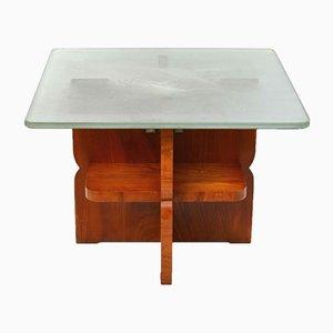 Table Basse Vintage Art Déco avec Plateau en Verre Imprimé