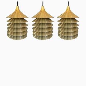 Lámparas colgantes Duett suecas vintage de latón de Bent Gantzel Boysen para Ikea, años 70. Juego de 3