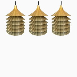 Vintage Swedish Duett Brass Pendant Lamps by Bent Gantzel Boysen for Ikea, 1970s, Set of 3