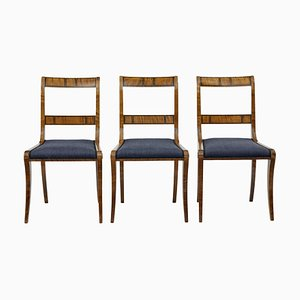 Vintage Birch Dining Chairs, 1920s, Set of 3