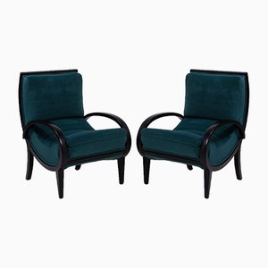 Art Deco Velvet & Bentwood Lounge Chairs by Jindřich Halabala, 1920s, Set of 2