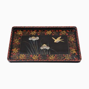 Antique Black Lacquer Serving Tray