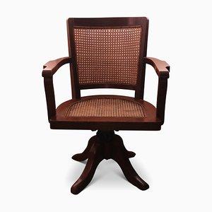 Chaise de Bureau Pivotante Ancienne en Chêne et Jonc