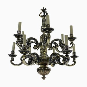 Lámpara de araña Charles II antigua de bronce y plata, década de 1830
