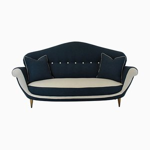 Italienisches Mid-Century Sofa mit Holzfüßen & Stoffbezug in Blau & Weiß, 1950er
