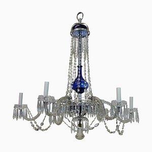 Lámpara de araña antigua de cristal tallado y soplado