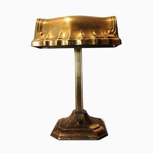 Vintage Solid Brass Adjustable Bankers Desk Lamp, 1920s