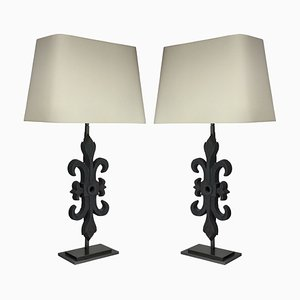 Vintage French Cast Iron and Iron Table Lamps, 1970s, Set of 2