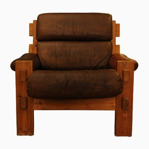 Danish Dark Brown Leather and Pine Armchair, 1960s