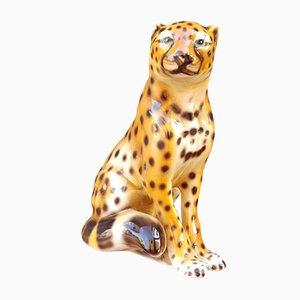 Ceramic Cheetah Sculpture from The Ceramic Center of Alcobaça, 1960s