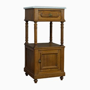 French Oak and Marble Night Stand, 1930s