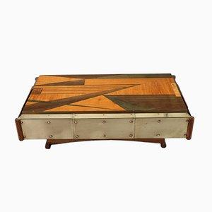 Mesa de centro vintage de marquetería de madera, años 70