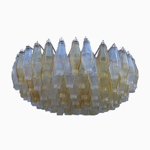 Lampadario vintage in vetro di Murano giallo e trasparente di Venini