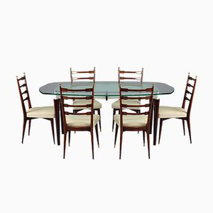 Mesa de comedor italiana vintage con seis sillas, años 60
