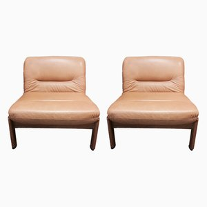 Teak and Leather Modular Sofas, 1950s, Set of 2