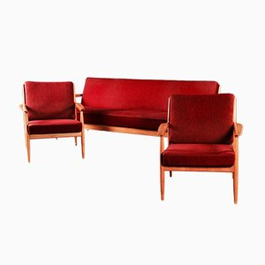 Red Sofa and Armchairs from Casala, 1950s, Set of 3