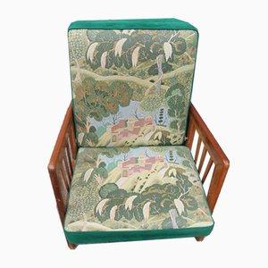 Grüner italienischer Sessel mit Gestell aus Nussholz, 1940er