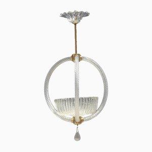 Lampada da soffitto rotonda in vetro di Murano di Barovier, anni '50