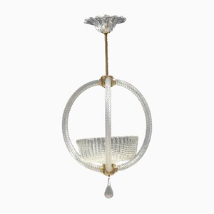 Round Murano Glass Ceiling Lamp from Barovier, 1950s