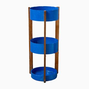 Blue Metal and Wooden Umbrella Stand, 1960s