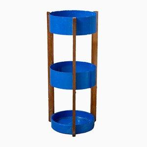 Portaombrelli in metallo blu e legno, anni '60
