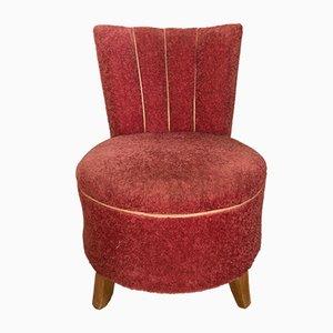 Sessel mit pinkem Veloursbezug & Füßen aus Buche, 1950er