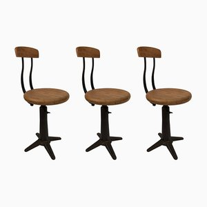 Industrial Factory Chairs by Singer for Simanco, 1920s, Set of 3
