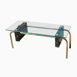 Vintage Rectangular Italian Marble and Glass Coffee Table