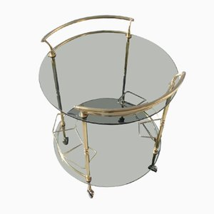 Round Italian Brass and Smoked Glass Trolley, 1970s