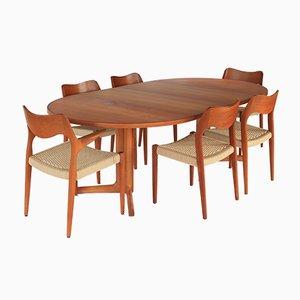 Tavolo da pranzo nr. 71 e nr. 55 di Niels Otto Møller, anni '60, set di 7