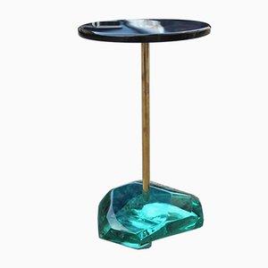 Mesa auxiliar italiana vintage de latón y cristal de Effettovetro